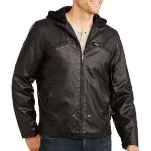 Fade Glory Black Faux Leather Hooded Moto Jacket